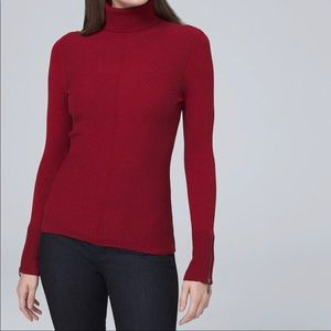 NEW White House Black Market red sweater tneck L